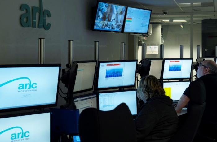 Arc operators CCTV monitoring & alarm monitoring in Arc Monitoring's control room