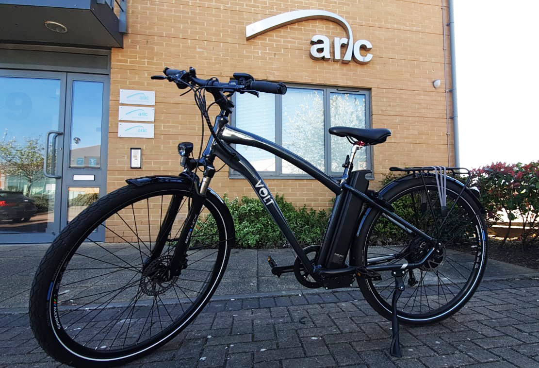 Electric bicycle outside the front of the Arc Monitoring office
